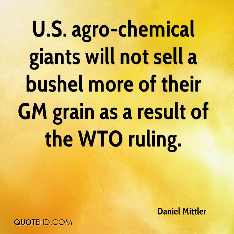 U.S. agro-chemical giants will not sell a bushel more of their GM grain as a result of the WTO ruling.