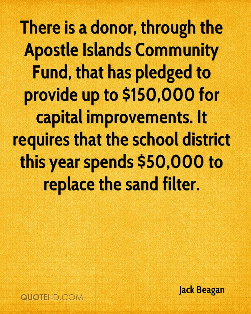 There is a donor, through the Apostle Islands Community Fund, that has pledged to provide up to $150,000 for capital improvements. It requires that the school district this year spends $50,000 to replace the sand filter.