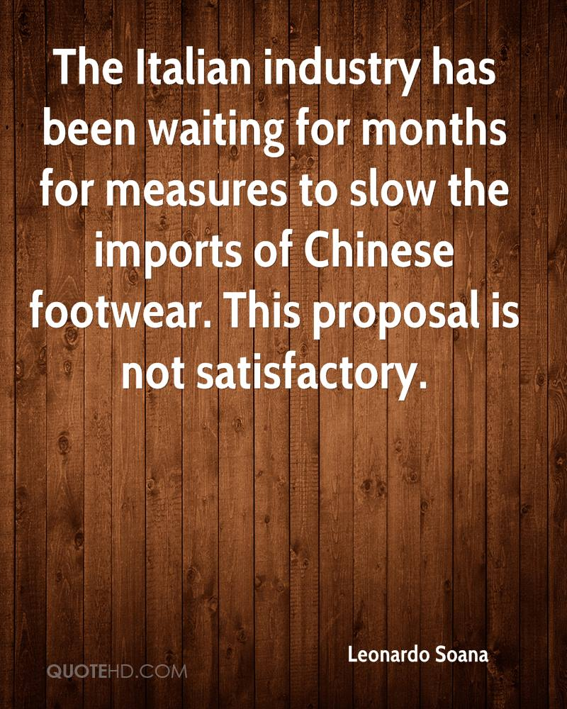 The Italian industry has been waiting for months for measures to slow the imports of Chinese footwear. This proposal is not satisfactory.