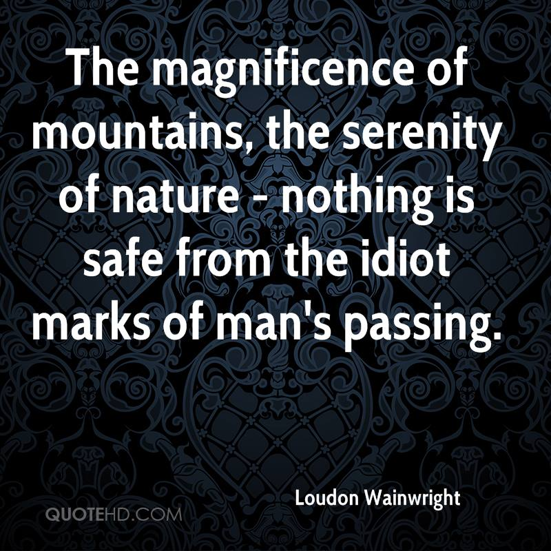 The magnificence of mountains, the serenity of nature - nothing is safe from the idiot marks of man's passing.