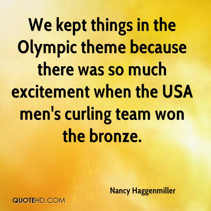 We kept things in the Olympic theme because there was so much excitement when the USA men's curling team won the bronze.