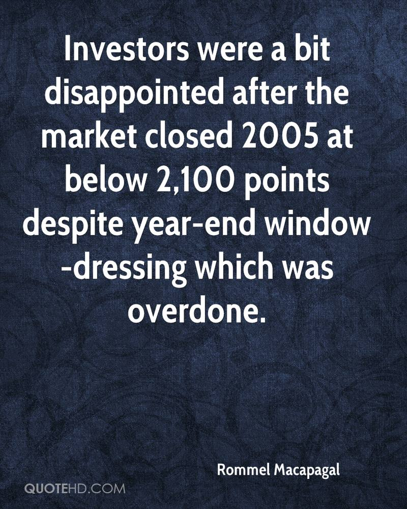 Investors were a bit disappointed after the market closed 2005 at below 2,100 points despite year-end window-dressing which was overdone.