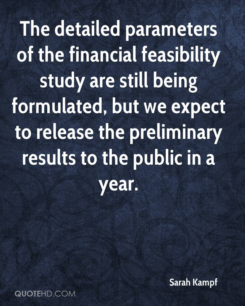 The detailed parameters of the financial feasibility study are still being formulated, but we expect to release the preliminary results to the public in a year.