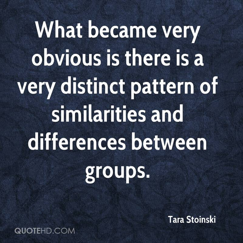 What became very obvious is there is a very distinct pattern of similarities and differences between groups.