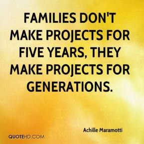 Achille Maramotti - Families don't make projects for five years, they make projects for generations.