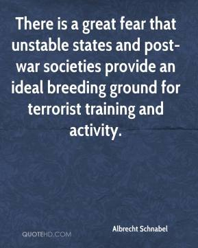 Albrecht Schnabel - There is a great fear that unstable states and post-war societies provide an ideal breeding ground for terrorist training and activity.