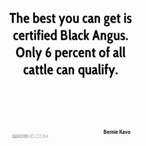 Bernie Kavo - The best you can get is certified Black Angus. Only 6 percent of all cattle can qualify.