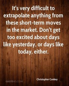 Christopher Conkey - It's very difficult to extrapolate anything from these short-term moves in the market. Don't get too excited about days like yesterday, or days like today, either.