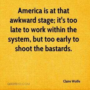 Claire Wolfe - America is at that awkward stage; it's too late to work within the system, but too early to shoot the bastards.
