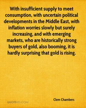 Clem Chambers - With insufficient supply to meet consumption, with uncertain political developments in the Middle East, with inflation worries slowly but surely increasing, and with emerging markets, who are historically strong buyers of gold, also booming, it is hardly surprising that gold is rising.