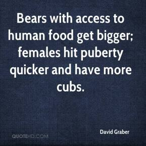 David Graber - Bears with access to human food get bigger; females hit puberty quicker and have more cubs.