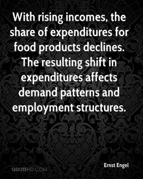 Ernst Engel - With rising incomes, the share of expenditures for food products declines. The resulting shift in expenditures affects demand patterns and employment structures.