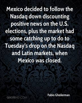 Mexico decided to follow the Nasdaq down discounting positive news on the U.S. elections, plus the market had some catching up to do to Tuesday's drop on the Nasdaq and Latin markets, when Mexico was closed.