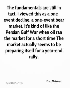 Fred Meissner - The fundamentals are still in tact. I viewed this as a one-event decline, a one-event bear market. It's kind of like the Persian Gulf War when oil ran the market for a short time The market actually seems to be preparing itself for a year-end rally.