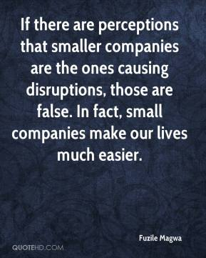 Fuzile Magwa - If there are perceptions that smaller companies are the ones causing disruptions, those are false. In fact, small companies make our lives much easier.