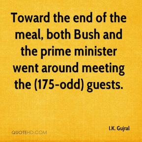 Toward the end of the meal, both Bush and the prime minister went around meeting the (175-odd) guests.