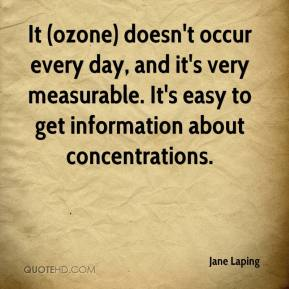 Jane Laping  - It (ozone) doesn't occur every day, and it's very measurable. It's easy to get information about concentrations.