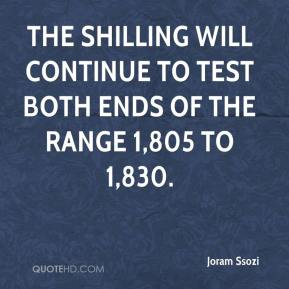 Joram Ssozi  - The shilling will continue to test both ends of the range 1,805 to 1,830.