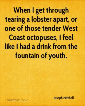 Joseph Mitchell - When I get through tearing a lobster apart, or one of those tender West Coast octopuses, I feel like I had a drink from the fountain of youth.