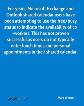 For years, Microsoft Exchange and Outlook shared calendar users have been attempting to use the free/busy status to indicate the availability of co-workers. This has not proven successful as users do not typically enter lunch times and personal appointments in their shared calendar.