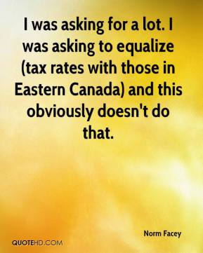 I was asking for a lot. I was asking to equalize (tax rates with those in Eastern Canada) and this obviously doesn't do that.