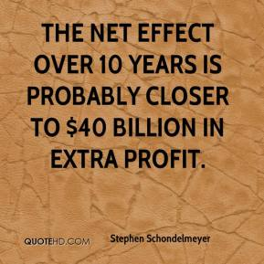 Stephen Schondelmeyer  - The net effect over 10 years is probably closer to $40 billion in extra profit.