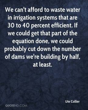 Ute Collier  - We can't afford to waste water in irrigation systems that are 30 to 40 percent efficient. If we could get that part of the equation done, we could probably cut down the number of dams we're building by half, at least.