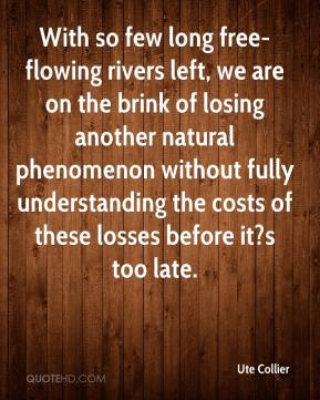 Ute Collier  - With so few long free- flowing rivers left, we are on the brink of losing another natural phenomenon without fully understanding the costs of these losses before it?s too late.