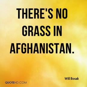 Will Bosak  - There's no grass in Afghanistan.