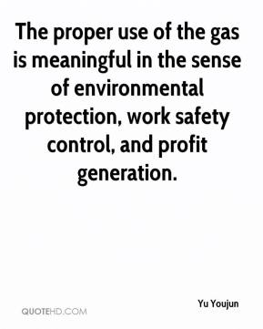 Yu Youjun  - The proper use of the gas is meaningful in the sense of environmental protection, work safety control, and profit generation.