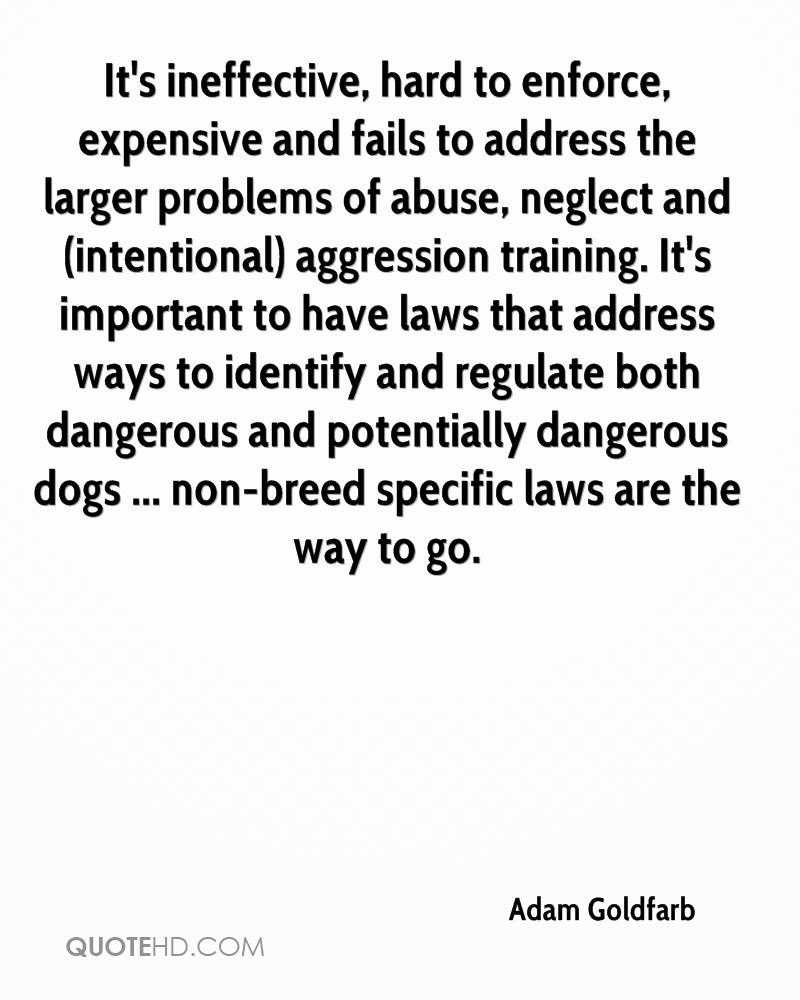 It's ineffective, hard to enforce, expensive and fails to address the larger problems of abuse, neglect and (intentional) aggression training. It's important to have laws that address ways to identify and regulate both dangerous and potentially dangerous dogs ... non-breed specific laws are the way to go.