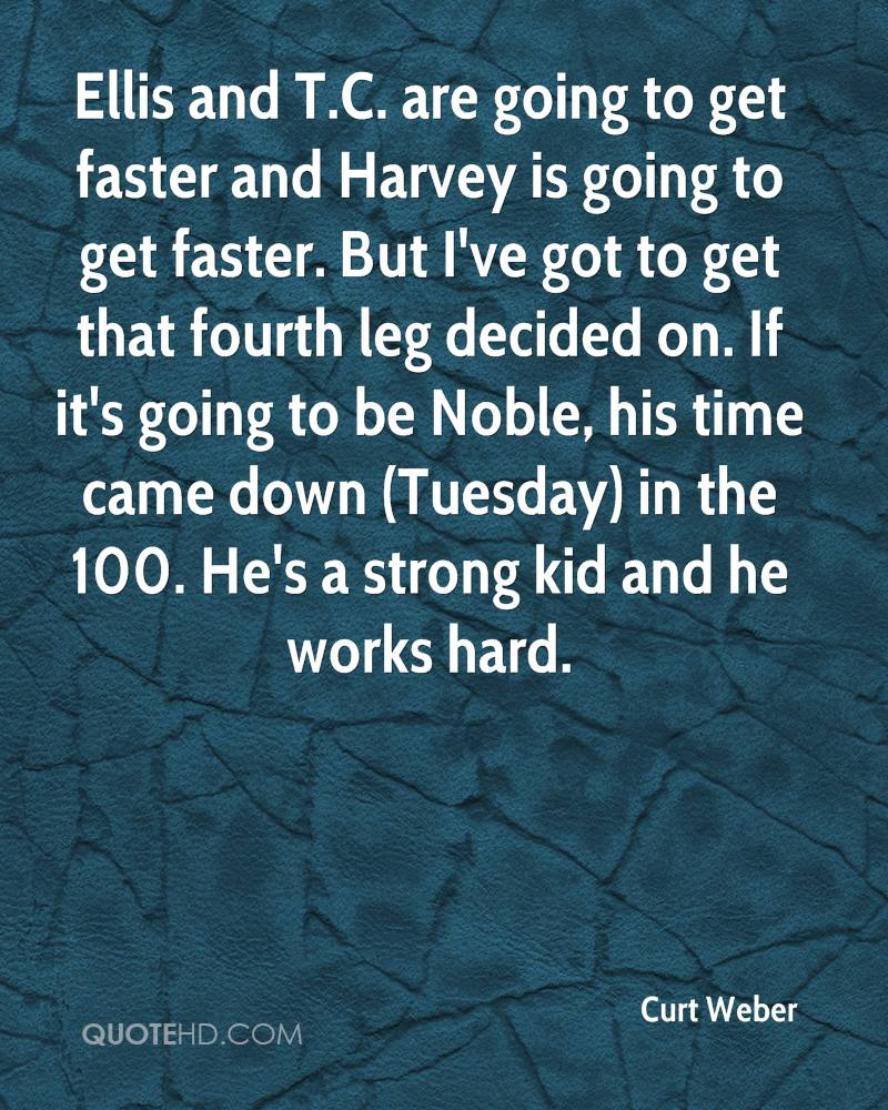 Ellis and T.C. are going to get faster and Harvey is going to get faster. But I've got to get that fourth leg decided on. If it's going to be Noble, his time came down (Tuesday) in the 100. He's a strong kid and he works hard.