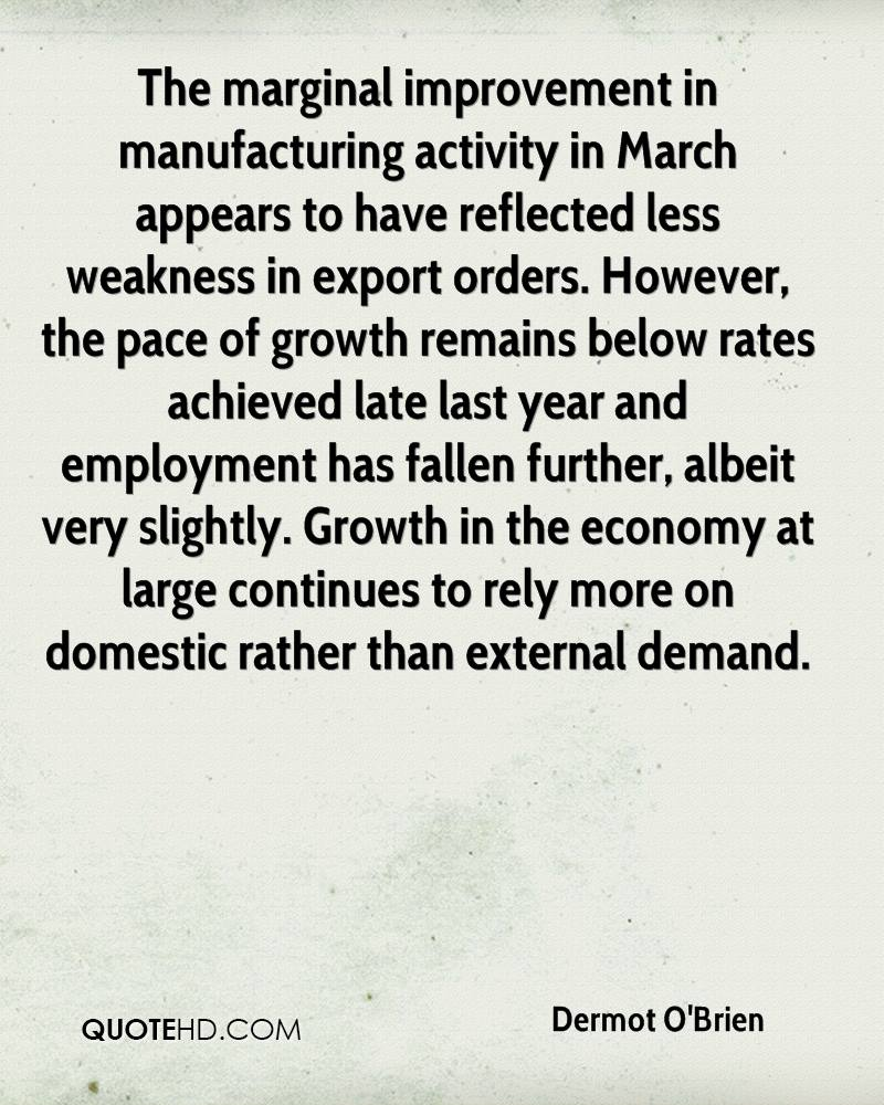 The marginal improvement in manufacturing activity in March appears to have reflected less weakness in export orders. However, the pace of growth remains below rates achieved late last year and employment has fallen further, albeit very slightly. Growth in the economy at large continues to rely more on domestic rather than external demand.