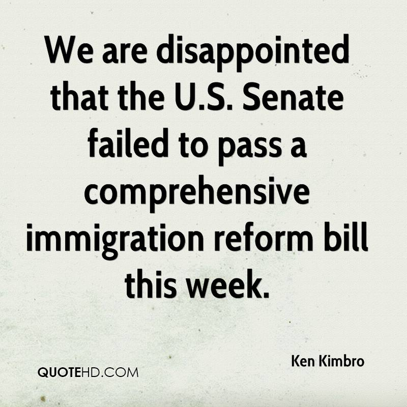 We are disappointed that the U.S. Senate failed to pass a comprehensive immigration reform bill this week.