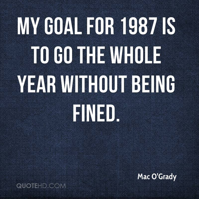 My goal for 1987 is to go the whole year without being fined.