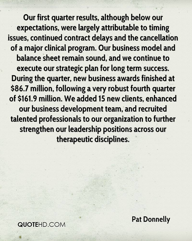 Our first quarter results, although below our expectations, were largely attributable to timing issues, continued contract delays and the cancellation of a major clinical program. Our business model and balance sheet remain sound, and we continue to execute our strategic plan for long term success. During the quarter, new business awards finished at $86.7 million, following a very robust fourth quarter of $161.9 million. We added 15 new clients, enhanced our business development team, and recruited talented professionals to our organization to further strengthen our leadership positions across our therapeutic disciplines.