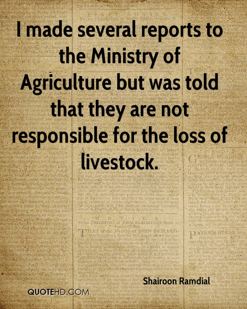 I made several reports to the Ministry of Agriculture but was told that they are not responsible for the loss of livestock.