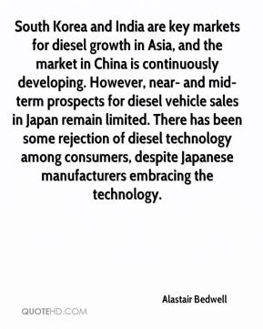 Alastair Bedwell - South Korea and India are key markets for diesel growth in Asia, and the market in China is continuously developing. However, near- and mid-term prospects for diesel vehicle sales in Japan remain limited. There has been some rejection of diesel technology among consumers, despite Japanese manufacturers embracing the technology.