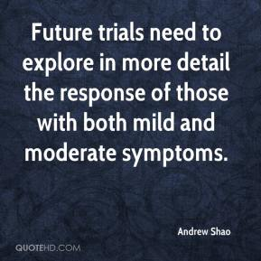 Andrew Shao - Future trials need to explore in more detail the response of those with both mild and moderate symptoms.