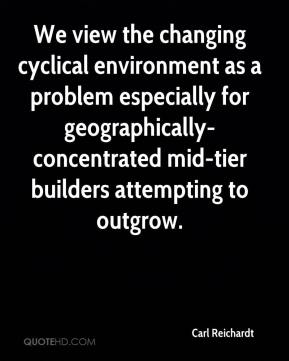 Carl Reichardt - We view the changing cyclical environment as a problem especially for geographically-concentrated mid-tier builders attempting to outgrow.