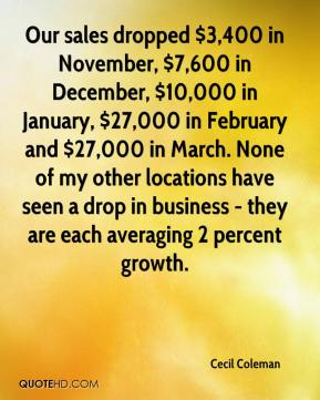 Cecil Coleman - Our sales dropped $3,400 in November, $7,600 in December, $10,000 in January, $27,000 in February and $27,000 in March. None of my other locations have seen a drop in business - they are each averaging 2 percent growth.
