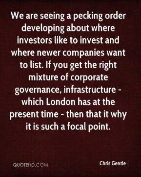 Chris Gentle - We are seeing a pecking order developing about where investors like to invest and where newer companies want to list. If you get the right mixture of corporate governance, infrastructure - which London has at the present time - then that it why it is such a focal point.