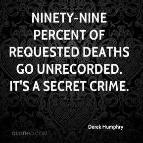 Derek Humphry - Ninety-nine percent of requested deaths go unrecorded. It's a secret crime.
