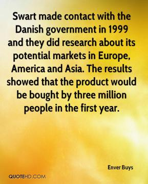 Enver Buys - Swart made contact with the Danish government in 1999 and they did research about its potential markets in Europe, America and Asia. The results showed that the product would be bought by three million people in the first year.