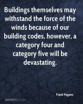 Frank Pagano - Buildings themselves may withstand the force of the winds because of our building codes, however, a category four and category five will be devastating.