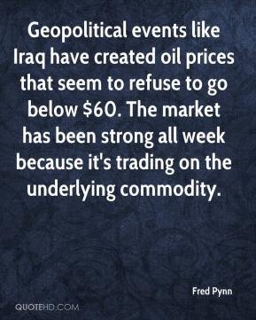 Fred Pynn - Geopolitical events like Iraq have created oil prices that seem to refuse to go below $60. The market has been strong all week because it's trading on the underlying commodity.