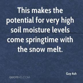 Guy Ash - This makes the potential for very high soil moisture levels come springtime with the snow melt.