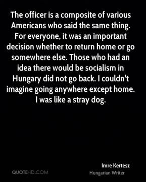 The officer is a composite of various Americans who said the same thing. For everyone, it was an important decision whether to return home or go somewhere else. Those who had an idea there would be socialism in Hungary did not go back. I couldn't imagine going anywhere except home. I was like a stray dog.