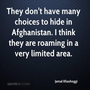 Jamal Khashoggi - They don't have many choices to hide in Afghanistan. I think they are roaming in a very limited area.