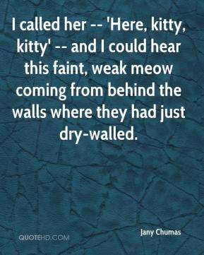 Jany Chumas  - I called her -- 'Here, kitty, kitty' -- and I could hear this faint, weak meow coming from behind the walls where they had just dry-walled.